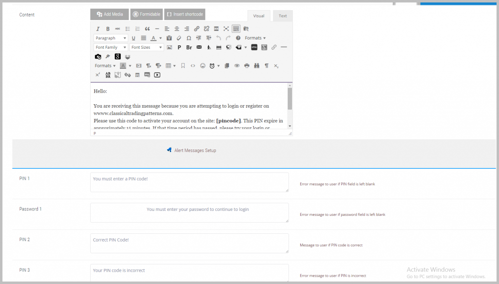 Configure messages that end user will see under various scenarios.
