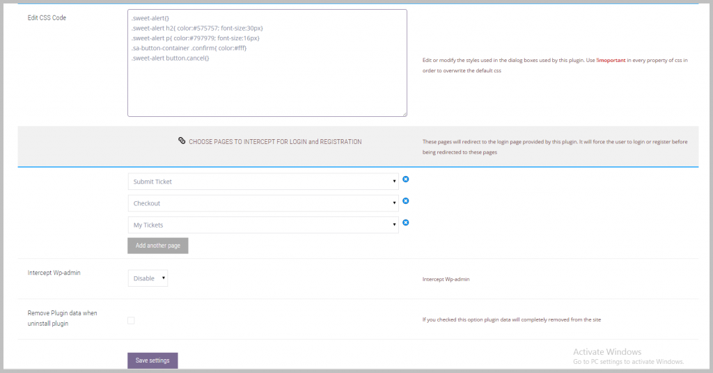 Configure the pages that will be the target of the login interception (and some styling options)